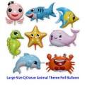 [Ready Stock] (1 Piece) Large Size Q Model Ocean Animal Shark Star Fish Octopus Fish Theme Foil Balloon
