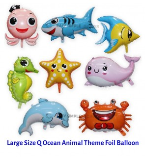 [Ready Stock] (1 Piece) Large Size Q Model Ocean Animal Shark Star Fish Octopus Fish Theme Foil Balloon