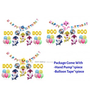 [Ready Stock] [Ready Stock] Kid Happy Birthday Baby Shark Balloon Aluminum Foil Party Decoration Set