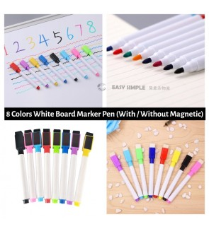 [Ready Stock] 8 Colors Per Pack Dry Erase Markers Whiteboard Marker Pen With Magnetic OR Without Office School Use