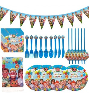 [Ready Stock] Cocomelon JJ Party Theme Disposable One Time Use Tableware Horn Plate Cup Topper Banner