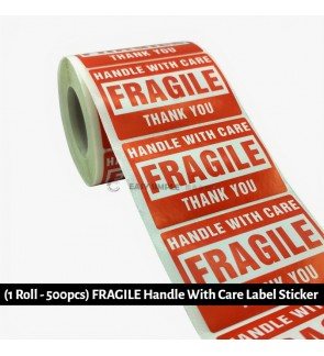[Ready Stock] (1Roll-500pcs) (7.5*5cm) Red Warning Sticker FRAGILE Handle With Care Moving Shipping Label Self Adhesive