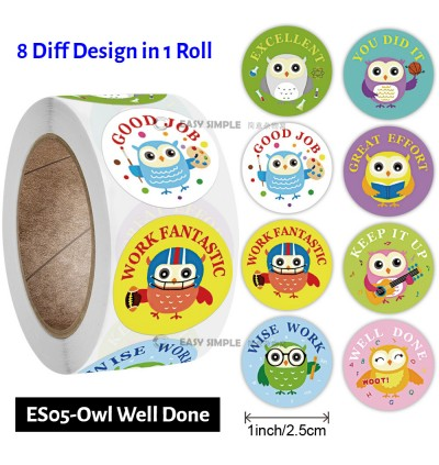[Ready Stock] (1Roll-500pcs) Kid Cartoon Assorted Incentive Rewards Stickers Parents Teachers Party Supplies Game Prizes