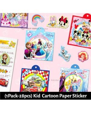 [Ready Stock] (1pack-28pcs)(2-7cm) Kid Cartoon Small Sticker Boy Girl Glitter Diary DIY Cartoon Decorative Scrapbooking