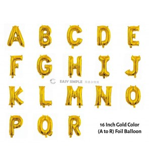 [Ready Stock] 16 INCH Glossy Gold Foil Balloon Letter Alphabet Number (A To R)