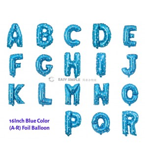 [Ready Stock] (1 Piece) 16 INCH Blue Foil Balloon Letter Alphabet Number (A To R)