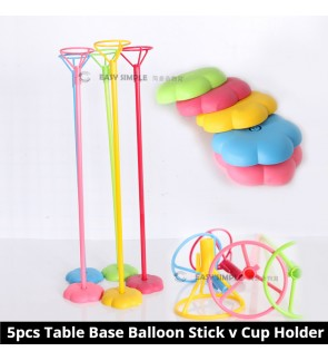 (5pcs/Set) Colorful Table Desktop Base with Pole Foil Balloon Stick Stand With Cup Holder DIY Bow Ribbon Decoration
