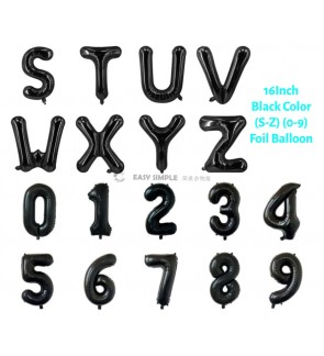 [Ready Stock] (1 Piece) 16 INCH Black Foil Balloon Letter Alphabet Number (S To 9)