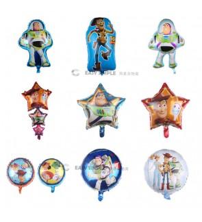 [Ready Stock] (1 Piece) Toy Story Sheriff Woody Buzz Light-year Jessie Wall Decoration 18 Inch Star RoundFoil Balloon