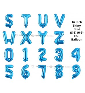 [Ready Stock] (1 Piece) 16 INCH Glossy Blue Foil Balloon Letter Alphabet Number (S To 9)