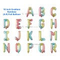 [Ready Stock] (1 Piece) 16 INCH Gradient Rainbow Foil Balloon Letter Alphabet Number (A To R)
