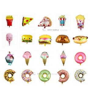 [Ready Stock] (1 Piece) Large Size Dessert Cake Snack Junk Food Ice Cream Donut Pizza Burger Popcorn Foil Balloon