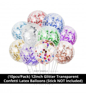 [Ready Stock] (10pcs/pack) 12Inch Transparent Confetti Filled Latex Balloons Birthday Wedding Party Supplies Decorations