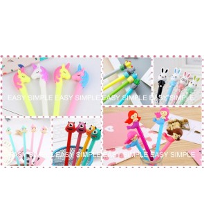 [Ready Stock] Kawaii Cute Cartoon 0.5mm Stationery Ballpoint Black Ink Gel Pen