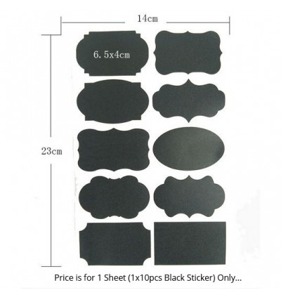 [Ready Stock]Chalkboard Black Paper Label Stickers Text Writing PVC Label Tags
