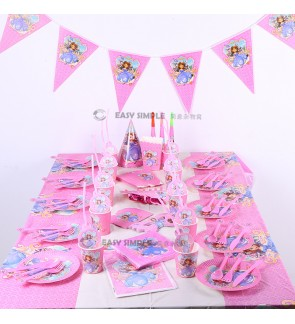 [Ready Stock] Sofia Pink Birthday Party Theme Disposable Tableware Candle Plate Spoon Cover Cupcake Stand