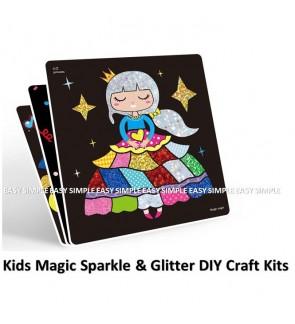 [Ready Stock] (1 Box) Kids Magic Sparkle & Glitter DIY Craft Kits Educational Party Gift Hologram Peel & Reveal Art