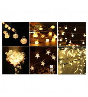 [Ready Stock]2M/5M Star/Ball Shaped Led String Fairy Lights Party Decor Battery