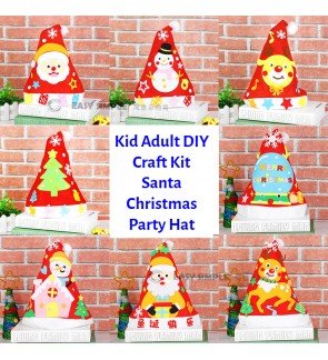 [Ready Stock] (1 Piece) DIY Craft Kit Santa Party Hat Christmas Kid Education Snowman Tree Xmas Fun Wear Adult