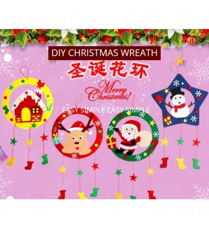 [Ready Stock] DIY Christmas Wreath Craft Accessories Kid Gift Window Door Decor