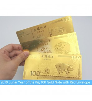 [Ready Stock] 2019 Lunar Year of the Pig 100 Gold Note with Red Envelope Fortune