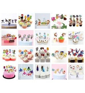 [Ready Stock] 24pcs Cupcake Toppers Cute Cartoon Cake Decorations Dessert Party