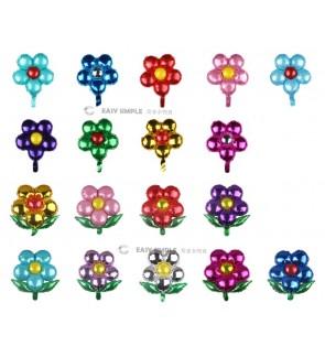 [Ready Stock] (1 Piece) Colorful Five Petal Flower Leaf Aluminium Foil Balloon Wall Decoration