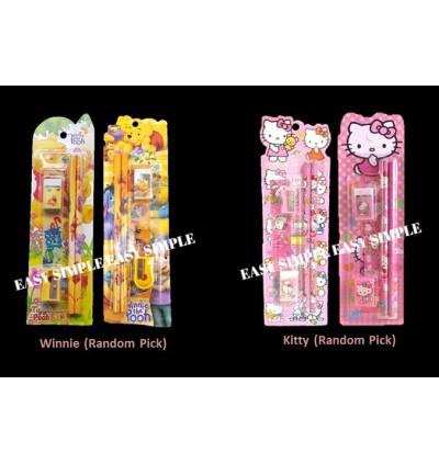 [Ready Stock] 5pcs/set Kid Cartoon School Stationery Supplies Set Birthday Gift
