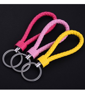[Ready Stock] Leather Rope Handmade Woven Keychain Zinc Alloy Key Chain Gift DIY