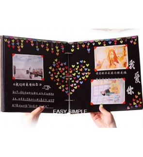 [Ready Stock] Hand Made Hardcover Black Paper Photo Album DIY Scrapbook Yearbook