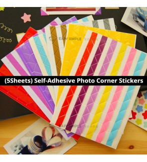 [Ready Stock] (5Sheets/Set) Rainbow Color PVC Self-adhesive Photo Corner Sticker Scrapbooking DIY Picture Craft Album