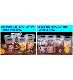 10pcs Food Grade Beverage Cookie Drink Ziplock Sealed Bag Reusable Straw PE