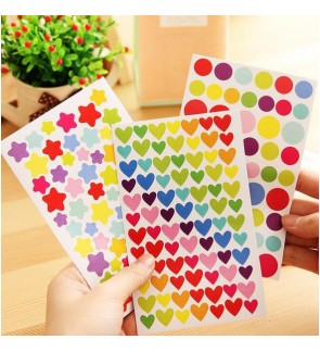 [Ready Stock] Scrapbook Rainbow Sticker Star Heart Round DIY Stationery Craft