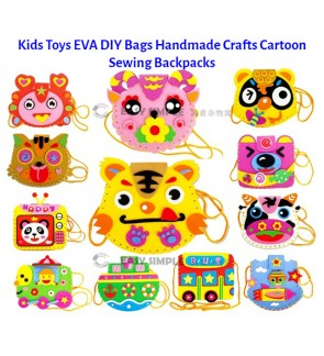 [Ready Stock] (1 Piece) Kids Children Toys EVA DIY Bags Handmade Crafts Kits Project Cartoon Bag Sewing Backpacks