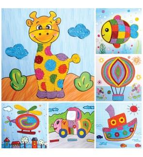 [Ready Stock] Rope Paste Painting Cartoon Animal DIY Handmade Kids Crafts Toys