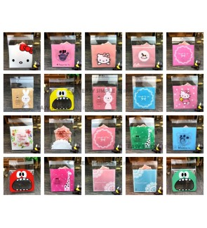 [Ready Stock](7*7cm) Food Grade Plastic Packing Bags Self-adhesive Candy Cookie