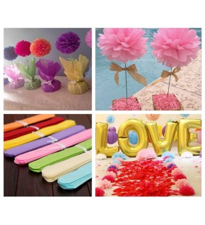 [Ready Stock] 20cm DIY Tissue Paper Flower PomPom Party Wedding Room Decoration