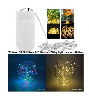 [Ready Stock]2M Warm OR Multi Color LED Wire Fairy String Light with Battery USB