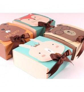 [Ready Stock] Cute Printed Animal Gift Present Box DIY Cardboard Wedding Candy