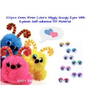 [Ready Stock] (100pcs/pack) (10/15 mm) Googly Eyes Self Adhesive Google Wiggly Colorful Eye Craft Embellishments