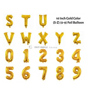 [Ready Stock] (1 Piece) 16 INCH Glossy Gold Foil Balloon Letter Alphabet Number (S To 9)
