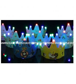 [Ready Stock] Birthday Party LED Hat Cartoon Kid DIY EVA Gift Headband Battery