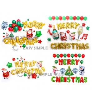 [Ready Stock] Christmas Celebration Balloon Set Party X'mas Foil Balloon Decor