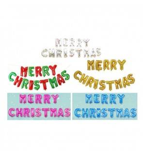 "[Ready Stock] 16"" Merry Christmas Word Aluminium Foil Balloon Party Decor X'mas"