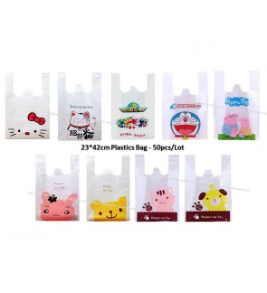 [Ready Stock] (23*42) 50pcs Cute Plastics Bags Handles Packaging Shopping Retail