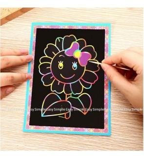 [Ready Stock] (10pcs Random Design) Rainbow Colourful Scratch Art Cartoon Paper Card Printed Design