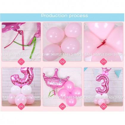 [Ready Stock]DIY Number Pink Blue Balloon Road Lead Column Birthday Foil Balloon