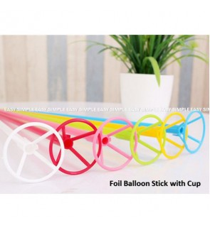 [Ready Stock] 10pcs Aluminium Foil Balloon Stick With Cup Color Plastics Holder