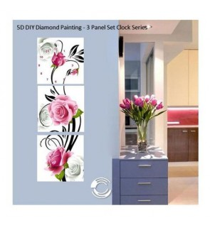 [Ready Stock] Home Decoration 5D Diamond Painting - 3 Panel Set Clock Series