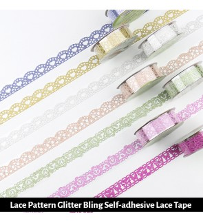 [Ready Stock] (1 Roll) Lace Pattern Glitter Bling Self-adhesive Lace Tape Sticker DIY PVC (Random Pattern) Scrapbook